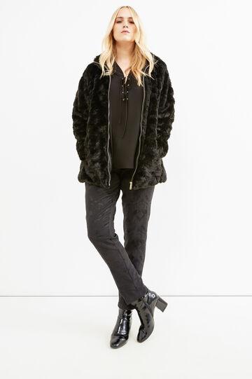 Curvy jacket with faux fur, Black, hi-res