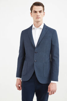 Rumford jacket with micro striped pattern, Blue, hi-res