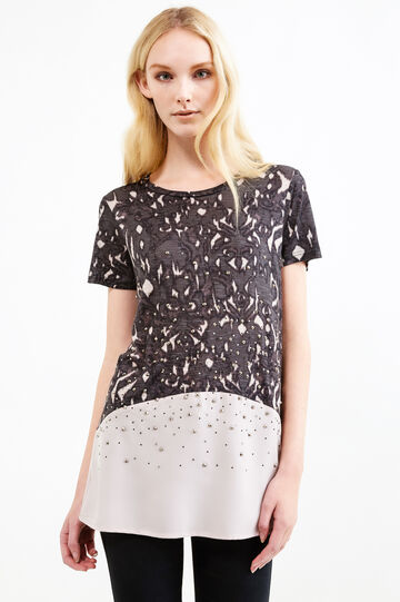 100% viscose patterned T-shirt with diamantés, Grey/Pink, hi-res