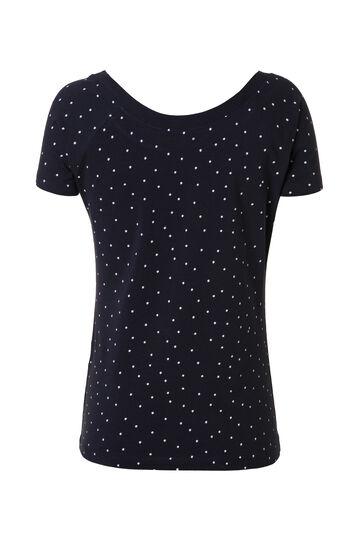 Smart Basic patterned stretch T-shirt, Black/White, hi-res