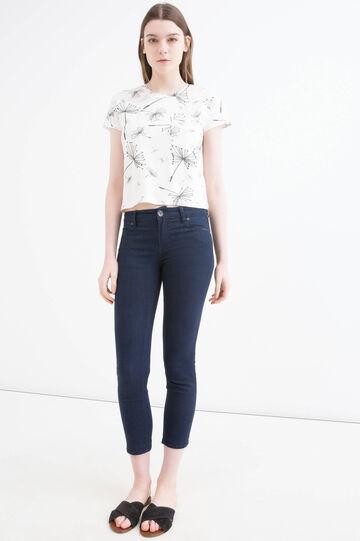 T-shirt cotone stampa floreale, Bianco, hi-res