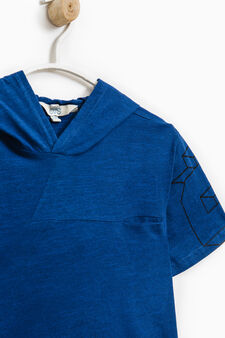 100% cotton T-shirt with hood, Blue Marl, hi-res