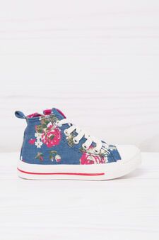 Floral print high-top sneakers, Denim Blue, hi-res
