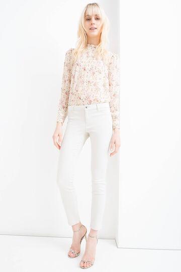 Stretch cotton blend trousers, Beige, hi-res