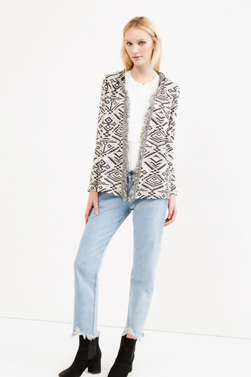 Geometric patterned sweatshirt with fringes, Natural, hi-res