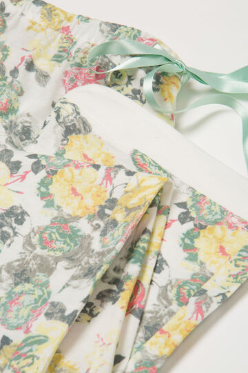 Pantaloni pigiama cotone e modal, Bianco/Verde, hi-res