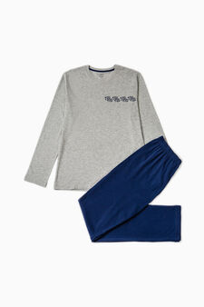 Solid colour pyjamas with lettering, Grey Marl, hi-res