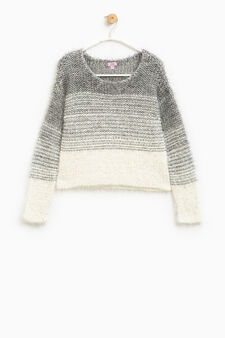Pullover in wool blend with striped pattern, Grey, hi-res