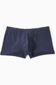 Boxer cotone con vita elasticata, Blu navy, hi-res