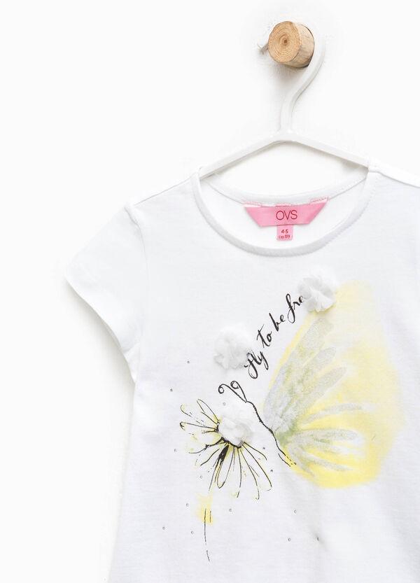 T-shirt stampata con strass e fiori | OVS