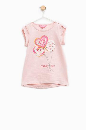 Camiseta con mangas japonesas y estampado, Rosa, hi-res