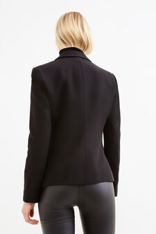 Stretch viscose blazer with two-button fastening, Black, hi-res