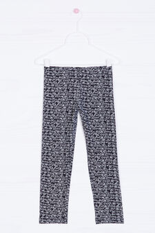 Leggings cotone stretch stampa, Nero, hi-res