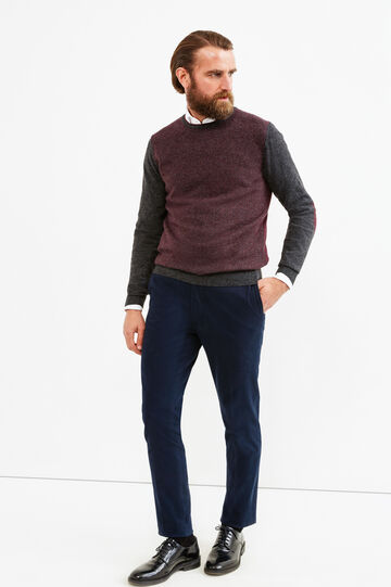 Cashmere blend Rumford pullover with pattern, Dark Grey Marl, hi-res