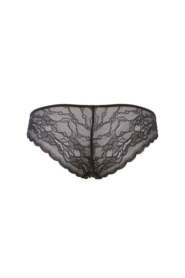 Stretch microfibre briefs with lace, Black, hi-res
