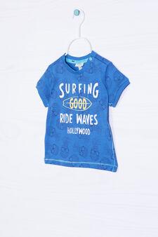 100% cotton T-shirt with ribbing, Cornflower Blue, hi-res