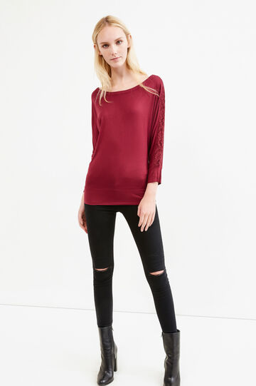 100% cotton T-shirt with lace, Claret Red, hi-res