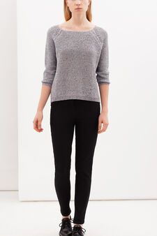 Pullover with boat neck, Blue/Grey, hi-res