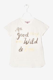 Maglietta cartoons strass e glitter, Bianco latte, hi-res