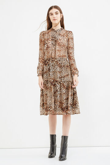 Long-sleeved dress with animal print, Beige, hi-res