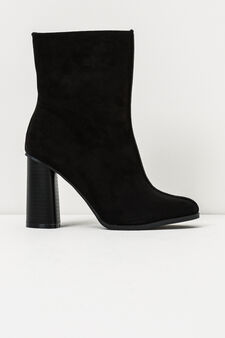 Suede look ankle boots with side zip, Black, hi-res