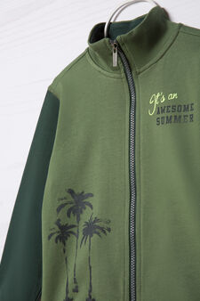 100% cotton sweatshirt with high neck., Green, hi-res