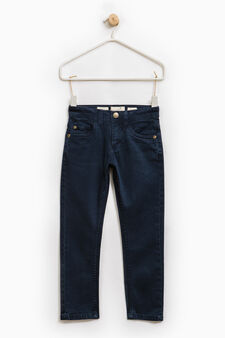Solid colour slim-fit chino trousers, Ocean Blue, hi-res
