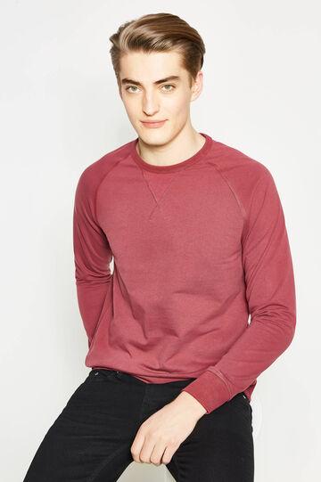 Solid colour 100% cotton sweatshirt, Claret Red, hi-res