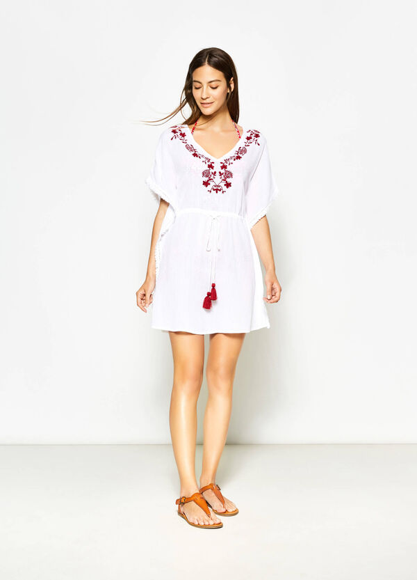 Embroidered cotton poncho | OVS