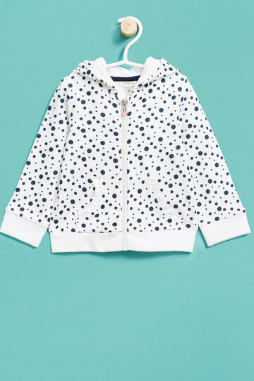 100% cotton sweatshirt with polka dot pattern, White, hi-res