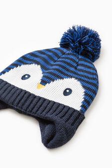 Beanie cap with ears, Blue, hi-res