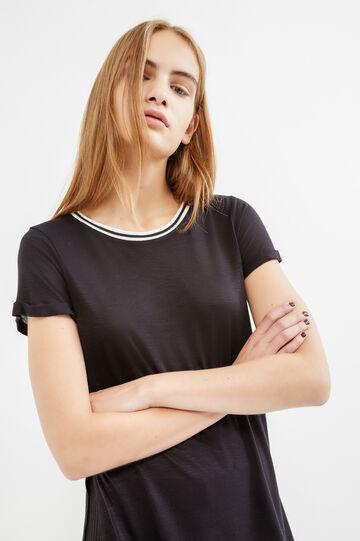 T-shirt viscosa maniche con risvolto, Nero, hi-res