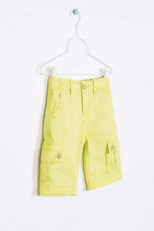 Solid colour 100% cotton Bermuda cargo shorts, Acid Green, hi-res