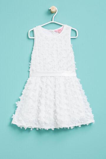 Vestido sin mangas con flores de tul, Blanco, hi-res