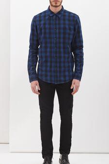 Slim fit check shirt, Black/Blue, hi-res