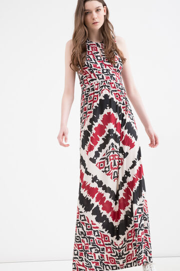 Long stretch printed dress, White, hi-res