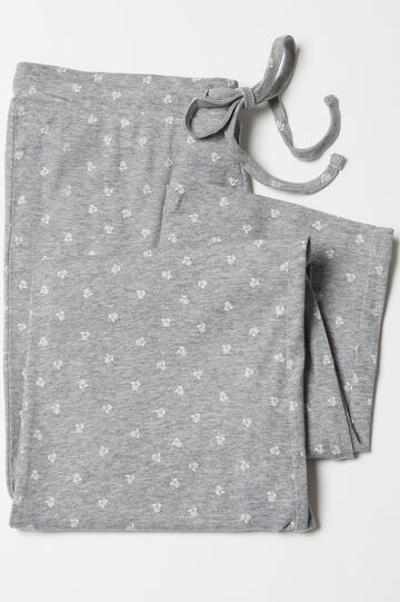Patterned cotton pyjama trousers, Grey Marl, hi-res