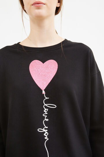 Sweatshirt in cotton with glitter print, Black, hi-res