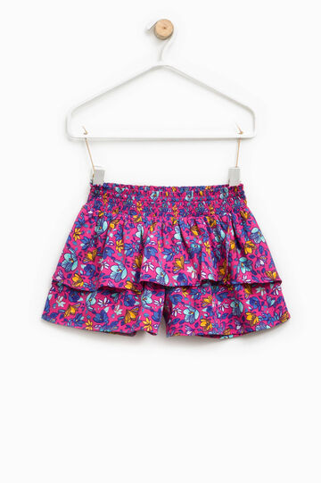 Patterned shorts with flounces, Fuchsia, hi-res
