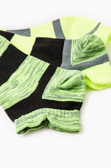 Three-pair pack striped OVS Active Sport Training socks, Neon Yellow, hi-res