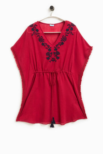 Embroidered cotton poncho, Red, hi-res