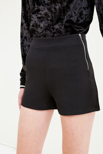 High-waisted stretch shorts with side zip, Black, hi-res