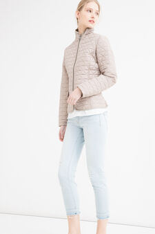 Quilted jacket with high neck, Beige, hi-res