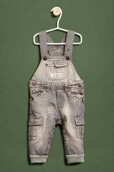 Worn-effect denim dungarees, Light Grey, hi-res