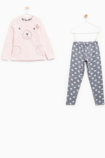 Patterned pyjamas with ears and embroidery, Grey/Pink, hi-res
