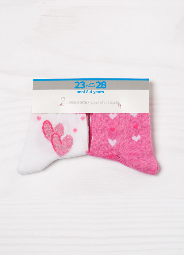 Two-pair pack stretch socks with heart pattern | OVS