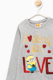 Minions print T-shirt with sequins, Grey Marl, hi-res