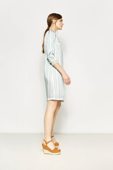 Striped dress with boat-neck