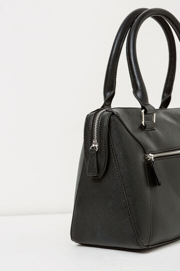 Shoulder bag with zipped pocket, Black, hi-res
