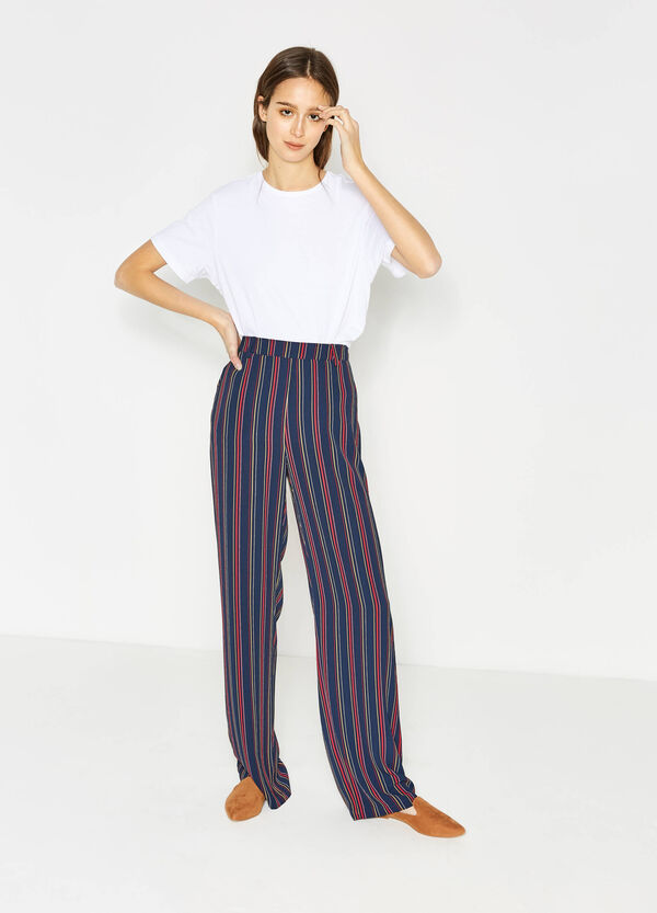 Pantalón culotte de rayas en tejido elástico | OVS